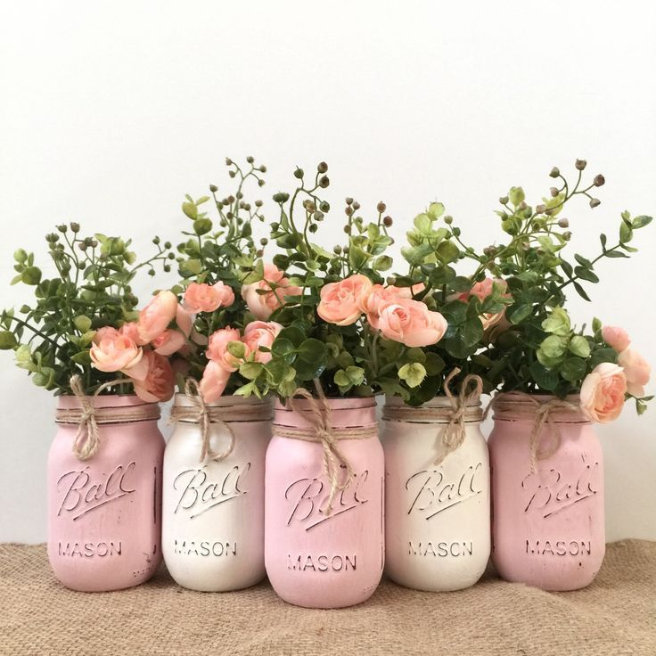 Mason Jar Centerpieces Baby Shower Girl Decorations Boho Decor Mason Jar Decor Baby Shower Decorations Girl Baby Shower Centerpiece Flower 2019 Baby Shower Diy