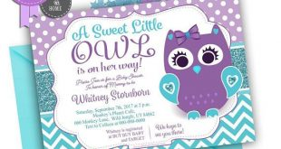 Owl Baby Shower Invitation in Purple Teal Glitter, Lavender Polka dots. A sweet Little Owl is on the way - aa52bPTi5