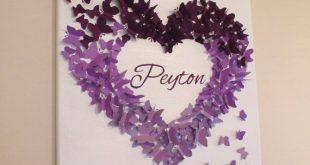 Personalized Purple Ombre Butterfly Wall Art - Made to Order - Butterfly Wall Art - Personalized Butterfly Art - Baby Shower Gift - Nursery