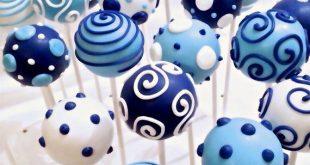 12 Navy, Light Blue & White Cake Pops für nautische Baby-Dusche, Sailor Geburts...