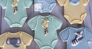 Baby Onesie Safari/Jungle Theme Decorated Sugar Cookie - 1 Dozen Baby Shower Favor - Giraffe, Lion, Elephant