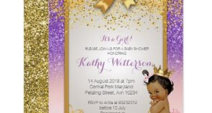 African American Pink Purple Gold Baby Shower Card | Zazzle.com