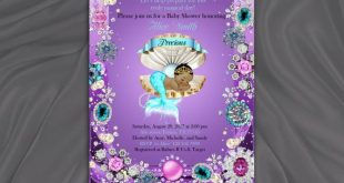 Little Mermaid Baby Shower Invitation, Under the Sea, Baby Girl, Purple - DOWNLOAD Instantly, EDITABLE TEXT - Microsoft® Word Format, BSM01