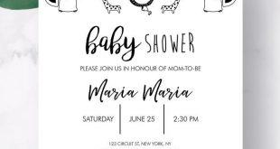 Baby Shower Invitation Safari Jungle, Gender Neutral Black and White Elephant Baby Shower, Printable Invites