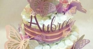 Best baby girl shower themes purple butterflies diaper cakes 49 ideas