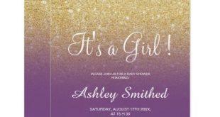 Gold faux glitter purple ombre girl baby shower invitation | Zazzle.com
