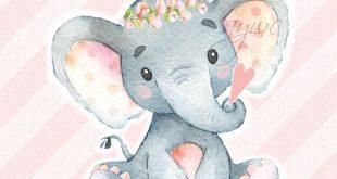 SWEET GIRL Elephant Wall Art Watercolor Elephant Wall Decor Elephant New Baby Gift Baby Shower Gift Christmas Gift Elephant Decor Download