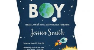 Space Baby Shower Invitation Boy Astronaut Rocket