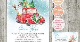 Winter Truck Baby Shower Invitation Boy, Holiday Invite printable, Boys Woodland Animals Baby Shower Invitation - Christmas 001