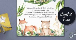 Woodland baby shower invitation gender neutral forest animals printable invite for boy or girl